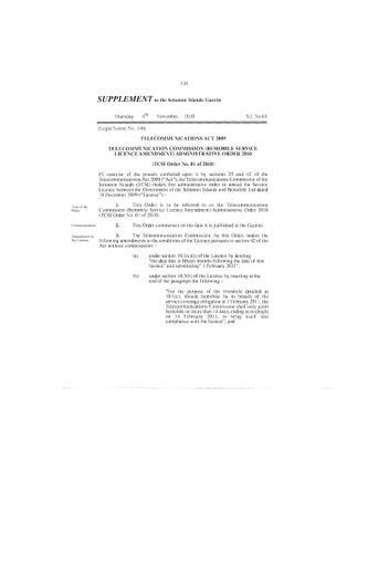 Telecommunications Commission Solomon Islands - Rolling Budget